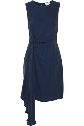 MILLY Rachael draped crepe de chine mini dress