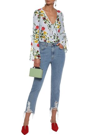 Milly Tops MILLY WOMAN MAGGIE FLORAL-PRINT SILK CREPE DE CHINE BLOUSE SKY BLUE
