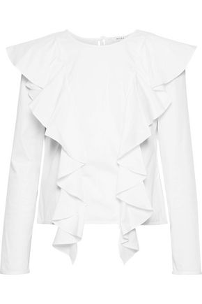 MILLY Ruffled cotton-blend poplin blouse