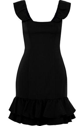 MILLY Savannah ruffle-trimmed stretch-cady mini dress