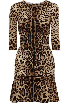 DOLCE & GABBANA Ruched leopard-print stretch-silk jersey mini dress