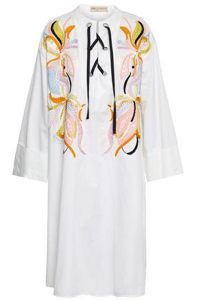 EMILIO PUCCI Lace-up embroidered cotton-poplin dress