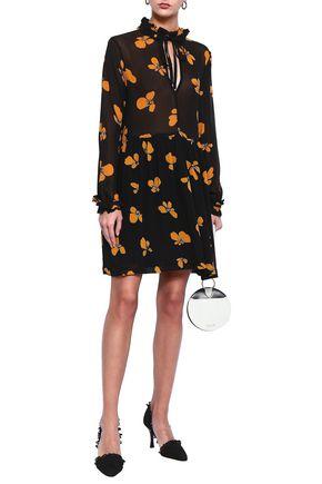 GANNI Ruffle-trimmed floral-print georgette mini dress