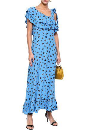 301f1176 GANNI Roseburg one-shoulder floral-print washed-crepe maxi dress