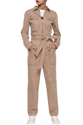 GANNI Phillips belted cotton-twill jumpsuit