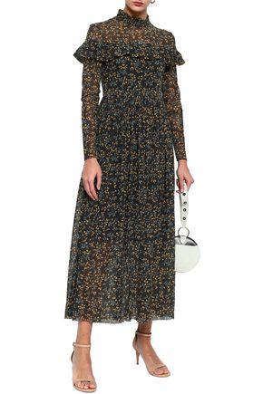 GANNI Tilden ruffle-trimmed floral-print mesh maxi dress