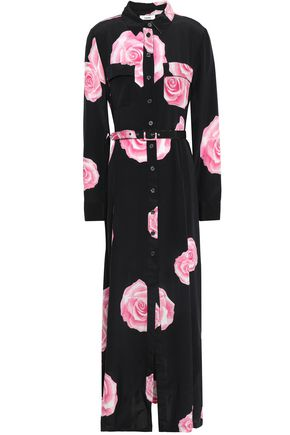 GANNI Fayette floral-print silk maxi shirt dress