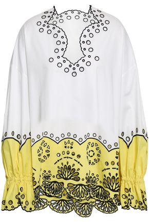 EMILIO PUCCI Broderie anglaise two-tone cotton blouse