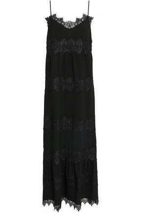 GANNI Clark lace-trimmed crepe midi slip dress