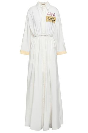 EMILIO PUCCI Belted appliquéd crinkled silk-blend charmeuse maxi dress