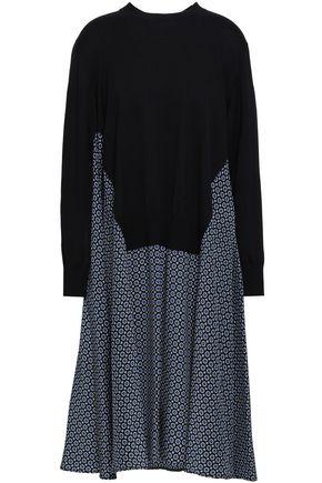 STELLA McCARTNEY Paneled printed crepe de chine and wool and silk-blend dress