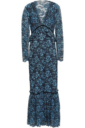 GANNI Flynn velvet-trimmed lace maxi dress