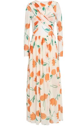 GANNI Tilden crossover floral-print mesh maxi dress