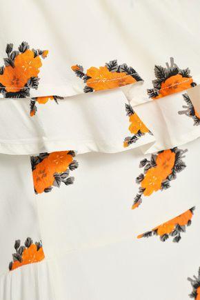 GANNI Roseburg one-shoulder floral-print washed-crepe maxi dress