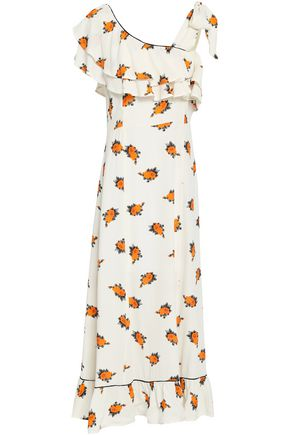 GANNI Roseburg one-shoulder floral-print washed-crepe maxi dress