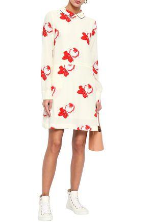 GANNI Floral-print crepe de chine mini shirt dress