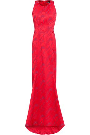 ZAC POSEN Fluted jacquard gown