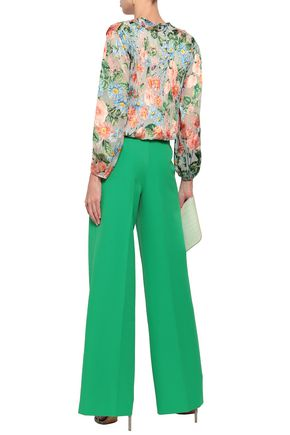ALICE + OLIVIA Wrap-effect devoré-chiffon top