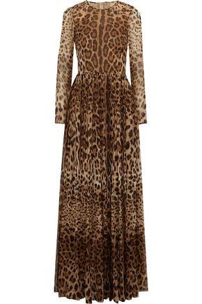 DOLCE & GABBANA Gathered leopard-print silk-chiffon gown