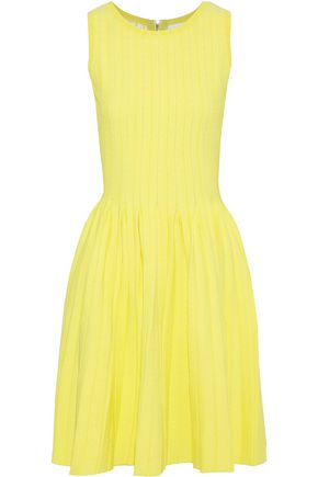 Milly MILLY WOMAN PLEATED JACQUARD-KNIT MINI DRESS YELLOW