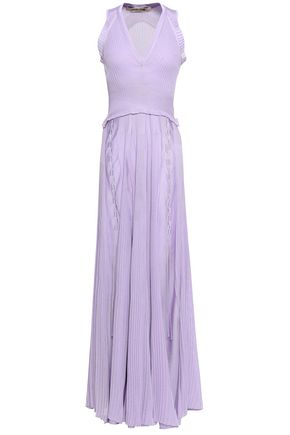 ROBERTO CAVALLI Lace-up ribbed-knit maxi dress