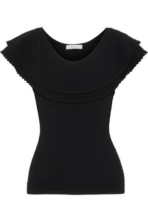 MILLY Tiered crochet-trimmed knitted top