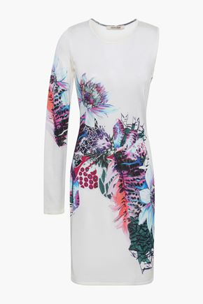 ROBERTO CAVALLI Cutout printed knitted dress