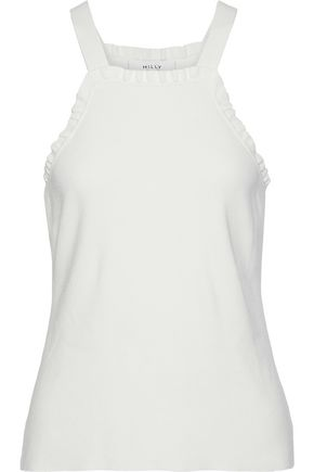 MILLY Ruffle-trimmed stretch-knit tank