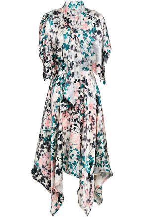 ROBERTO CAVALLI Asymmetric printed silk-satin midi dress