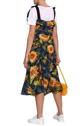 SANDRO Ruffled floral-print silk midi dress