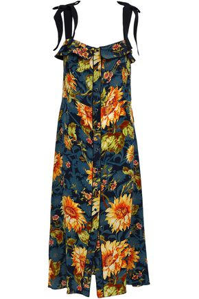 SANDRO Ruffled floral-print silk midi dress