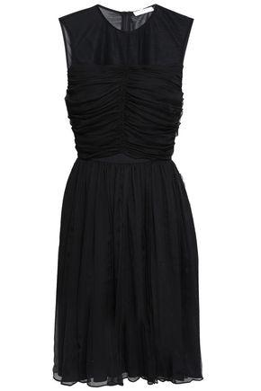 SANDRO Ruched silk-georgette mini dress