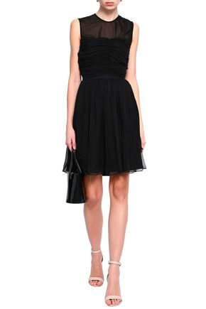 SANDRO Ruched silk-georgette mini dress