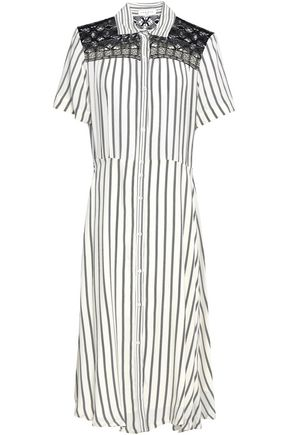 SANDRO Lace-trimmed striped woven midi shirt dress