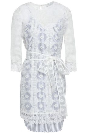 SANDRO Embroidered organza mini dress