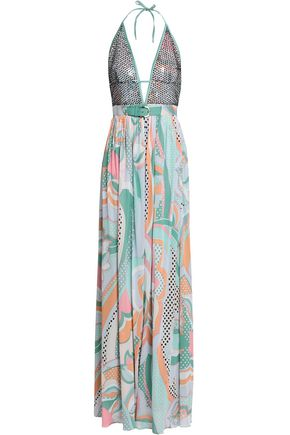 EMILIO PUCCI Embellished tulle and printed silk crepe de chine halterneck gown