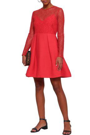 SANDRO Flared pleated lace and plissé-woven mini dress