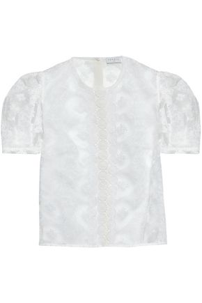 SANDRO Embroidered organza top