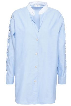 SANDRO Lace-up cotton-poplin shirt