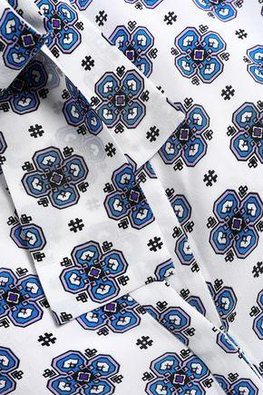 SANDRO Pussy-bow paneled printed silk blouse