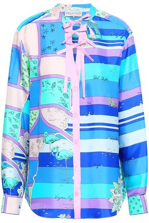 EMILIO PUCCI Bow-detailed printed silk-twill shirt