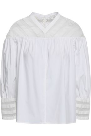 SANDRO Lace-trimmed gathered cotton-poplin shirt