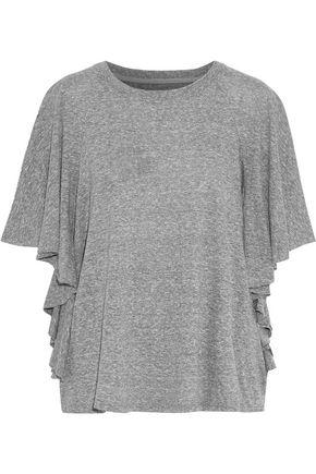 CURRENT/ELLIOTT The Corinne ruffled mélange stretch-jersey top