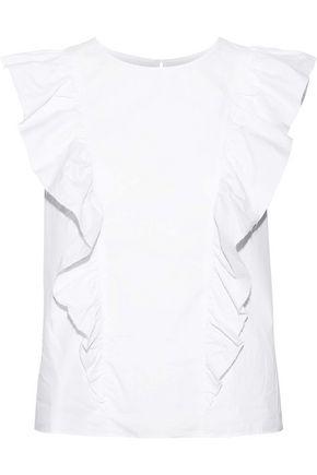 CURRENT/ELLIOTT Ruffled cotton-poplin top