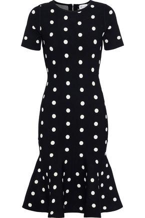 MILLY Fluted polka-dot jacquard-knit dress