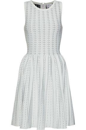 MILLY Pleated jacquard-knit mini dress