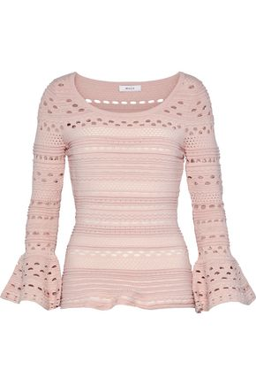 MILLY Fluted open-knit top