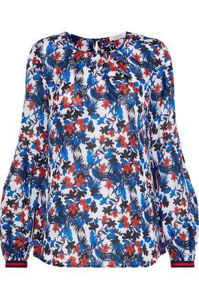 MILLY Mandy floral-print silk crepe de chine blouse