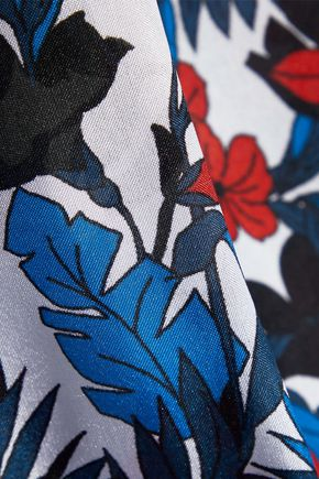 MILLY Rose gathered printed silk dress