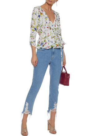 MILLY Ruffled floral-print silk crepe de chine wrap blouse
